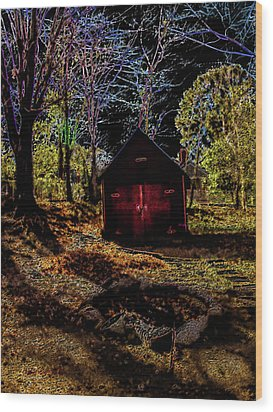 Red Shed Wood Print by Randy Sylvia