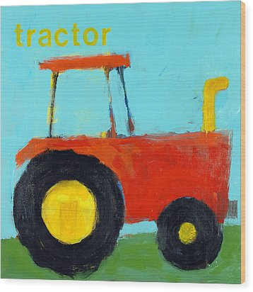 Red Tractor Wood Print by Laurie Breen