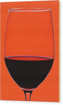 Red Wine Glass Wood Print by Frank Tschakert