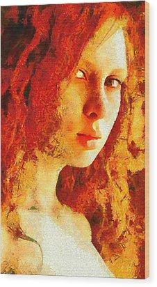 Wood Print featuring the digital art Redhead by Gun Legler