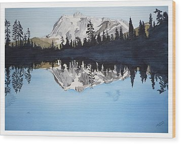 Wood Print featuring the painting Reflection Lake by Joel Deutsch