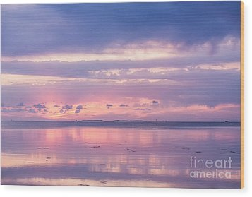 Reflections At Sunset In Key Largo Wood Print