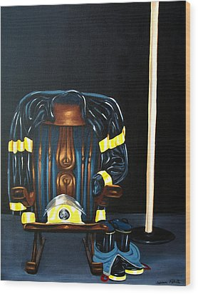 Wood Print featuring the painting Retiring Firefighter by Susan Roberts
