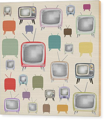 retro TV pattern  Wood Print