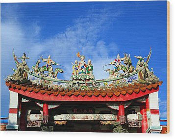 Wood Print featuring the photograph Richly Decorated Chinese Temple Roof by Yali Shi