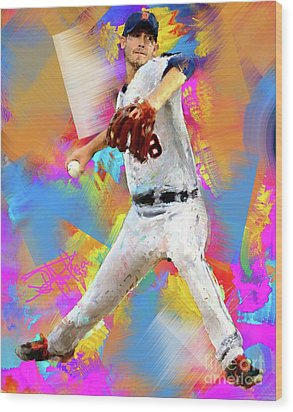 Rick Porcello Wood Print by Donald Pavlica