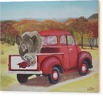 Ridin' With Razorbacks 2 Wood Print by Belinda Nagy