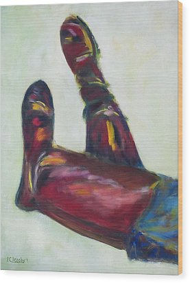 Wood Print featuring the painting Riding Boots by Patricia Cleasby