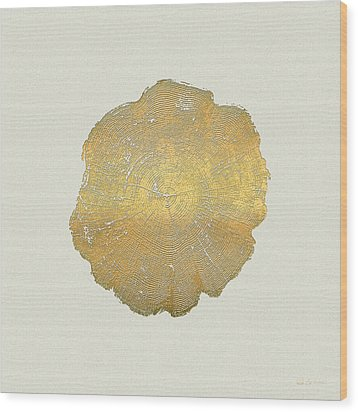 Rings Of A Tree Trunk Cross-section In Gold On Linen  Wood Print by Serge Averbukh