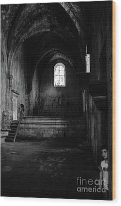 Wood Print featuring the photograph Rioseco Abandoned Abbey Nave Bw by RicardMN Photography