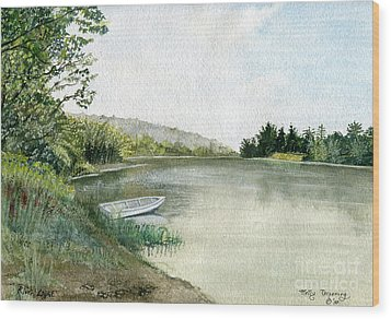 Wood Print featuring the painting River Light by Melly Terpening