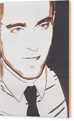 Robert Pattinson 11 Wood Print by Audrey Pollitt
