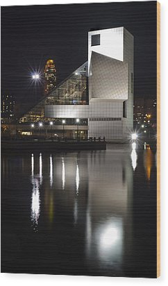 Rock And Roll Hall Of Fame At Night Wood Print by At Lands End Photography