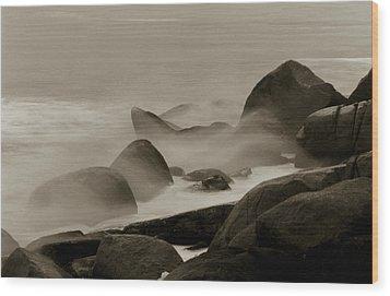 Rock And Sea Wood Print