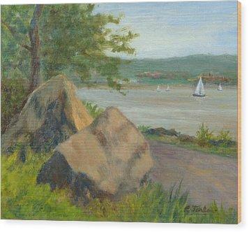 Rocks Along The Nyack Trail Wood Print by Phyllis Tarlow
