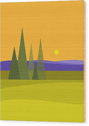 Wood Print featuring the digital art Rolling Hills by Val Arie
