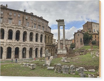 Rome - Theatre Of Marcellus Wood Print by Joana Kruse