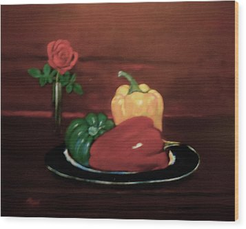 Rose And Peppers Wood Print