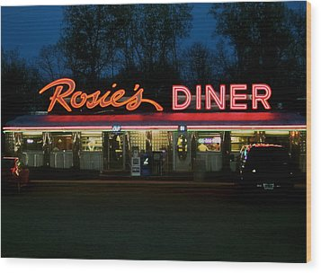 Rosie's Diner Wood Print