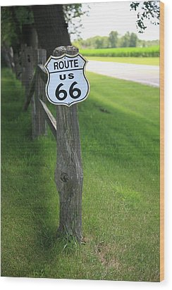 Wood Print featuring the photograph Route 66 Shield And Fence Post by Frank Romeo