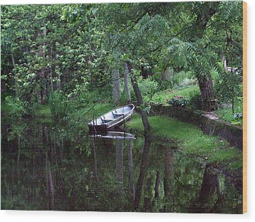 Rowboat In Woods Wood Print by Michael L Kimble