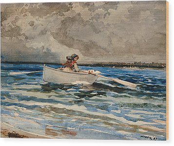 Rowing At Prouts Neck Wood Print by Winslow Homer