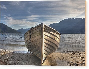 Rowing Boat On Lake Maggiore Wood Print by Joana Kruse