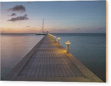 Wood Print featuring the photograph Rum Point Pier At Sunset by Adam Romanowicz