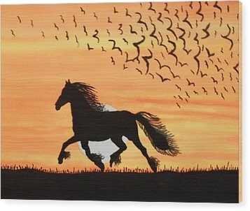 Running In The Wind Wood Print by Connie Valasco