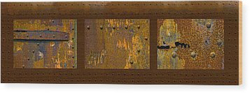 Rust Triptych Wood Print by Gary LaComa