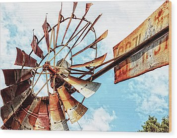 Rusted Windmill Wood Print