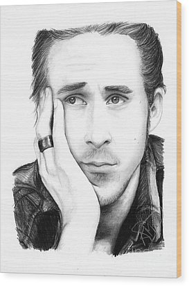 Ryan Gosling Wood Print by Rosalinda Markle