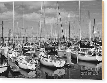 Sail Boats At San Francisco China Basin Pier 42 With The Bay Bridge In The Background . 7d7666 Wood Print by Wingsdomain Art and Photography