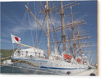 Wood Print featuring the photograph Sail Training Ship Nippon Maru by Aiolos Greek Collections