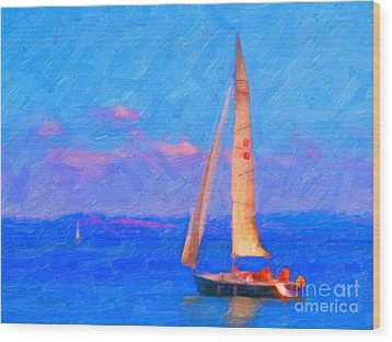 Sailing In The San Francisco Bay Wood Print by Wingsdomain Art and Photography