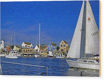 Wood Print featuring the photograph Sailing Marina Del Rey Fisherman's Village by David Zanzinger