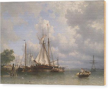 Sailing Ships In The Harbor Wood Print by Anthonie Waldorp