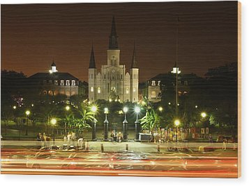 Saint Louis Cathedral In New Orleans Wood Print by Jetson Nguyen