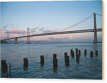 San Francisco Bay Bridge Wood Print by Mandy Wiltse
