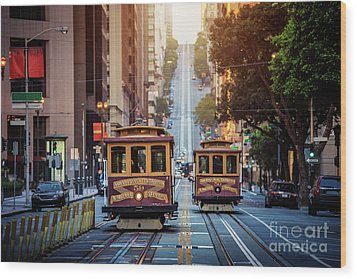 San Francisco Cable Cars Wood Print by JR Photography