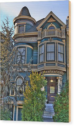San Francisco Victorian Wood Print by Paul Owen