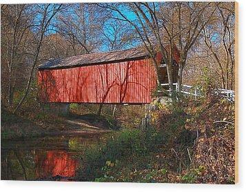 Sandy /creek Covered Bridge, Missouri Wood Print by Steve Warnstaff