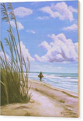 Wood Print featuring the painting Sanibel Surfer  by Melinda Saminski