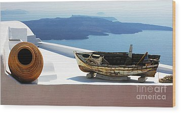 Santorini Greece Wood Print by Bob Christopher