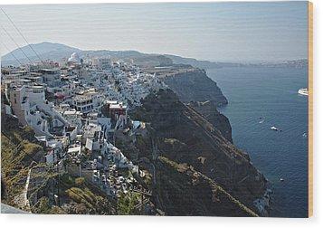 Santorini, Greece Wood Print by Cendrine Marrouat