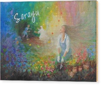 Sarayu Wood Print by Janet McGrath