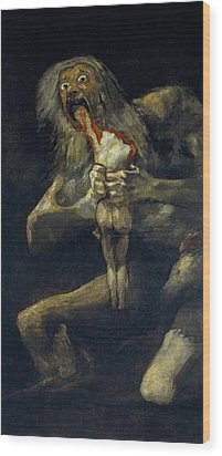 Saturn Devouring His Son Wood Print