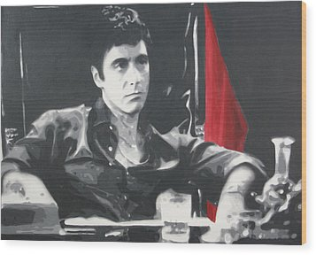 Scarface Wood Print by Luis Ludzska