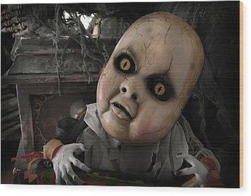 Scary Doll Wood Print by Craig Incardone