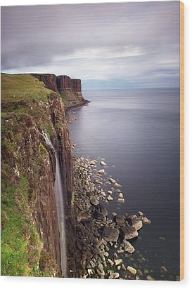 Scotland Kilt Rock Wood Print by Nina Papiorek